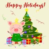Tarjeta de felicitación de la Feliz Año Nuevo y de la Feliz Navidad Un cerdo lindo en un traje del árbol de navidad se está coloc stock de ilustración
