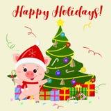 Tarjeta de felicitación de la Feliz Año Nuevo y de la Feliz Navidad Un cerdo lindo que lleva un sombrero y una bufanda de Santa C ilustración del vector