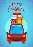 Tarjeta de felicitación de la Feliz Navidad con las letras Foto de archivo libre de regalías