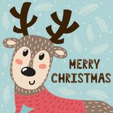 Tarjeta de felicitaci?n de la Feliz Navidad con un ciervo lindo stock de ilustración