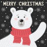 Tarjeta de felicitaci?n de la Feliz Navidad con un oso lindo libre illustration