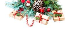 Tarjeta de felicitación de la Feliz Navidad del vintage Endecha plana, visión superior con c Fotos de archivo libres de regalías
