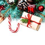 Tarjeta de felicitación de la Feliz Navidad del vintage Endecha plana, visión superior con c Imagen de archivo libre de regalías