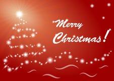 Tarjeta de felicitación de la Feliz Navidad en fondo rojo Imagen de archivo libre de regalías
