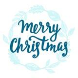 Tarjeta de felicitación de la Feliz Navidad Letras de la mano Foto de archivo libre de regalías
