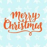 Tarjeta de felicitación de la Feliz Navidad Letras de la mano del cepillo Foto de archivo libre de regalías