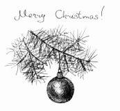 Tarjeta de felicitación de la Feliz Navidad Rama del abeto fotografía de archivo