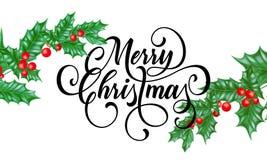 Tarjeta de felicitación de la Feliz Navidad de la rama santa de la hoja en fondo blanco como la nieve de las vacaciones de invier ilustración del vector