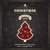 Tarjeta de felicitación de la Feliz Navidad y de la Feliz Año Nuevo, cartel, bandera Árbol de navidad rojo en fondo oscuro del mo stock de ilustración