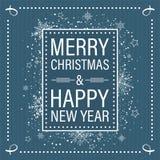 Tarjeta de felicitación de la Feliz Navidad y de la Feliz Año Nuevo en estilo plano retro con el marco, la nieve, estrellas y cop libre illustration