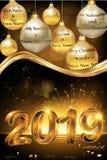Tarjeta 2019 de felicitación de la Feliz Navidad y de la Feliz Año Nuevo para las compañías