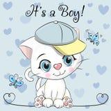 Tarjeta de felicitación de la fiesta de bienvenida al bebé con el muchacho lindo del gatito libre illustration