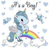 Tarjeta de felicitación de la fiesta de bienvenida al bebé con el muchacho lindo del unicornio stock de ilustración