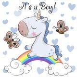 Tarjeta de felicitación de la fiesta de bienvenida al bebé con el muchacho lindo del unicornio libre illustration