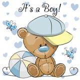 Tarjeta de felicitación de la fiesta de bienvenida al bebé con el muchacho lindo de Teddy Bear ilustración del vector