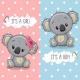 Tarjeta de felicitación de la fiesta de bienvenida al bebé con las koalas muchacho y muchacha ilustración del vector