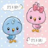 Tarjeta de felicitación de la fiesta de bienvenida al bebé con los pájaros muchacho y muchacha stock de ilustración