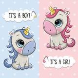 Tarjeta de felicitación de la fiesta de bienvenida al bebé con los unicornios muchacho y muchacha libre illustration