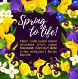 Tarjeta de felicitación de la flor con la guirnalda floral de la primavera Fotos de archivo