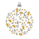 Tarjeta de felicitación de la Navidad con la bola de la Navidad con oro y pequeños iconos grises de la decoración en el fondo bla stock de ilustración