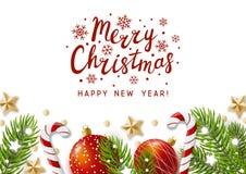 Tarjeta de felicitación de la Navidad con la decoración del día de fiesta ilustración del vector