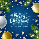 Tarjeta de felicitación de la Navidad con la decoración del día de fiesta stock de ilustración