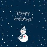 Tarjeta de felicitación de la Navidad con el muñeco de nieve lindo dibujado mano Buenas fiestas Foto de archivo