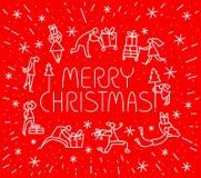 Tarjeta de felicitación de la Navidad con la gente con los regalos y el tre de la Navidad Fotos de archivo