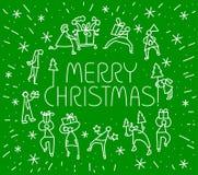 Tarjeta de felicitación de la Navidad con la gente con los regalos y el tre de la Navidad Imagen de archivo