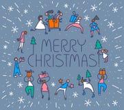 Tarjeta de felicitación de la Navidad con la gente con los regalos y el tre de la Navidad Imagen de archivo libre de regalías