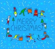 Tarjeta de felicitación de la Navidad con la gente con los regalos y el tre de la Navidad Fotos de archivo libres de regalías