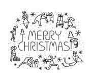 Tarjeta de felicitación de la Navidad con la gente con los regalos y el tre de la Navidad Foto de archivo