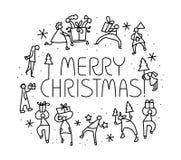 Tarjeta de felicitación de la Navidad con la gente con los regalos y el tre de la Navidad Imagenes de archivo