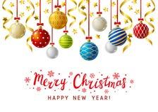 Tarjeta de felicitación de la Navidad con las bolas de Navidad ilustración del vector