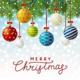 Tarjeta de felicitación de la Navidad con las bolas de Navidad stock de ilustración