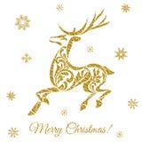 Tarjeta de felicitación de la Navidad con los ciervos y los copos de nieve de oro Fotografía de archivo libre de regalías