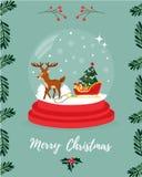 Tarjeta de felicitación de la Navidad con los ciervos y el trineo stock de ilustración
