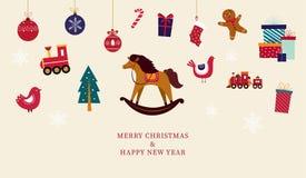 Tarjeta de felicitación de la Navidad con los juguetes stock de ilustración