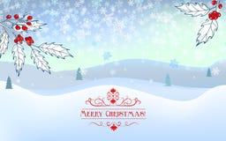 Tarjeta de felicitación de la Navidad con paisaje del invierno Fotografía de archivo libre de regalías