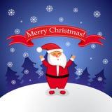 Tarjeta de felicitación de la Navidad con Papá Noel Fotografía de archivo libre de regalías