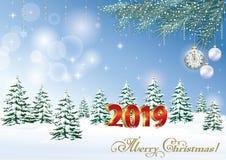 Tarjeta 2019 de felicitación de la Navidad con un paisaje del invierno ilustración del vector