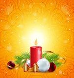 Tarjeta de felicitación de la Navidad con la vela roja Fotos de archivo