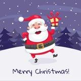 Tarjeta de felicitación de la Navidad del dancin de Santa Claus Imagen de archivo libre de regalías