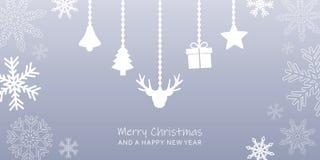 Tarjeta de felicitación de la Navidad del gris con la frontera del copo de nieve y la decoración colgante ilustración del vector