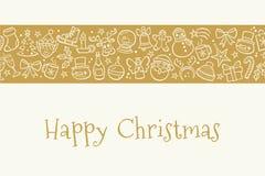 Tarjeta de felicitación de la Navidad en color oro con los iconos dibujados mano Imagen de archivo