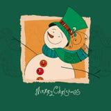 Tarjeta de felicitación de la Navidad, fondo, cartel con el muñeco de nieve lindo en fondo decorativo Ilustración del vector Foto de archivo