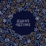 Tarjeta de felicitación de la Navidad por completo de iconos dibujados mano Imágenes de archivo libres de regalías