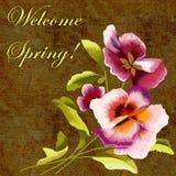 Tarjeta de felicitación de la primavera con las flores y la inscripción fotografía de archivo