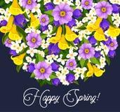 Tarjeta de felicitación de las flores de las azafranes de la primavera del vector Foto de archivo libre de regalías