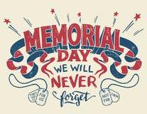 Tarjeta de felicitación de las letras de la mano de Memorial Day imagenes de archivo